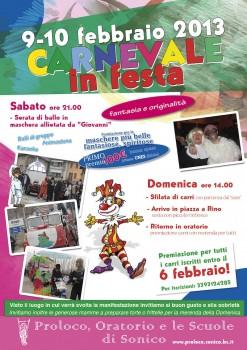 Locandina Carnevale in festa 2013 SONICO